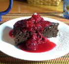 Gluten Free Chocolate Cake with Raspberry Coulis