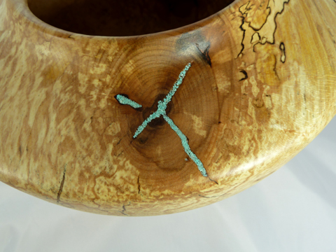 Spalted Maple Pot With Turquoise