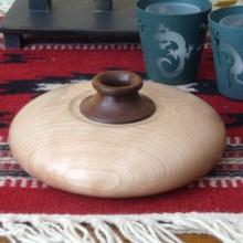 A Birch And Walnut Squat Pot