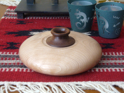 A Birch And Walnut Squat Pot