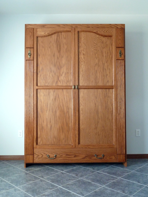 Armoire style wall bed ravenview for Murphy garage doors