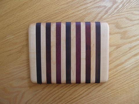 Maple, Walnut, Padauk And Purpleheart Cutting Board
