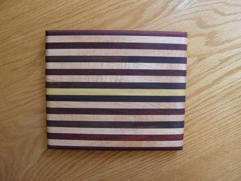 Maple, Padauk, Purpleheart, Walnut And Yellowheart Cutting Board