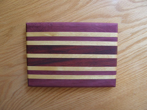 Purpleheart, Padauk And Yellowheart Bread Board