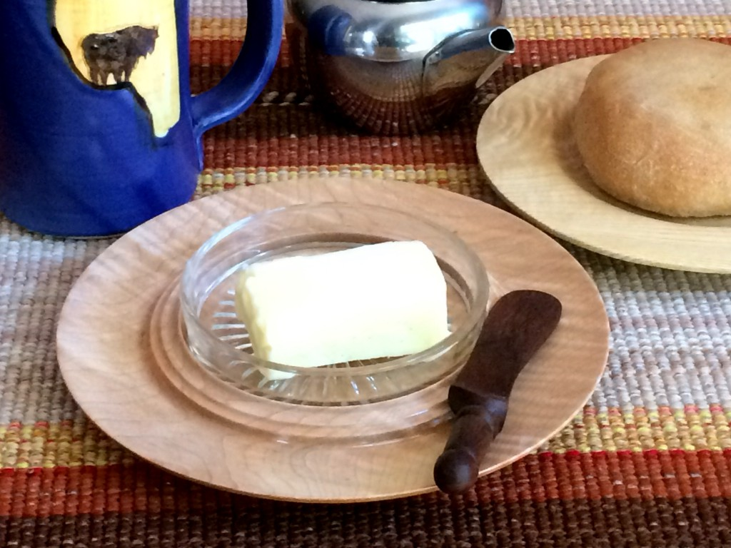 butter dish made of wood