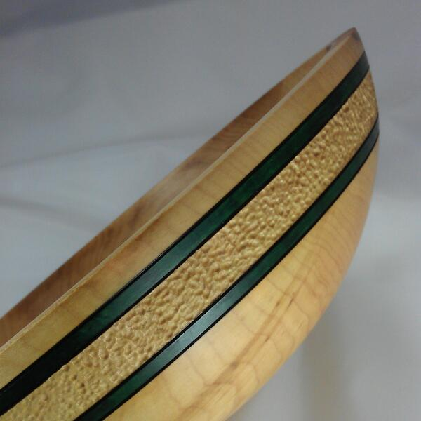 Sugar Maple bowl With Texture And Green Feature Bands